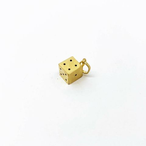 Genuine 9ct Yellow Gold Single Lucky Dice Pendant